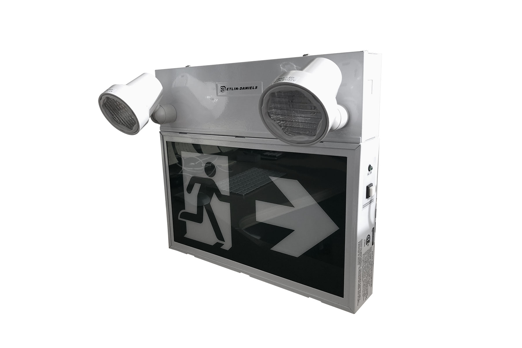 EC300WHM-A13-BB-GU-4RC - LED RUNNING MAN EXIT SIGN WITH COMBO HEADS