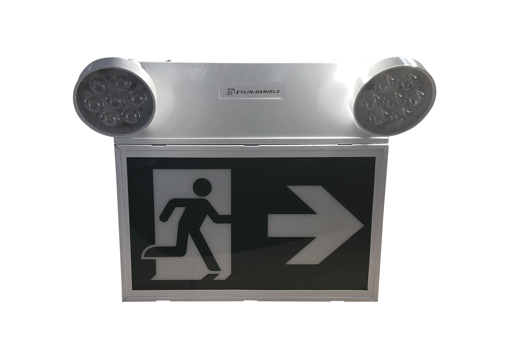 EC302WHM-A13-BB-GU-10RC - LED RUNNING MAN EXIT SIGN WITH COMBO HEADS